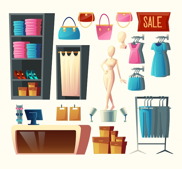 Clothing shop set - wardrobe with clothes, dressing room and other elements Free Vector