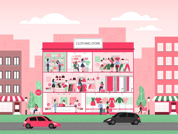 衣料品店の建物のインテリア。男性と女性のための服。カウンター、試着室、ドレスの棚。人々は新しい服を買って試します。図 Premiumベクター