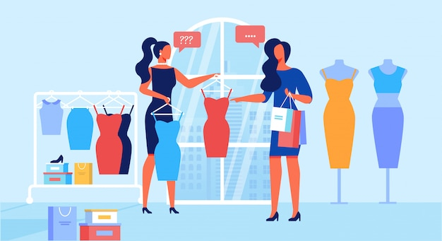 Clothing store customer service flat Premium Vector