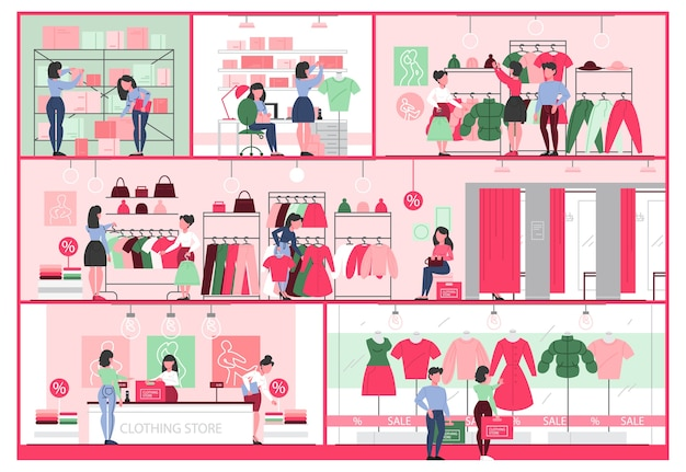 Clothing store interior. clothes for men and women. counter, fitting rooms and shelves with dresses. people buy and try new clothes.   illustration Premium Vector
