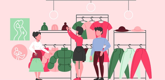 Clothing store interior. clothes for men and women. Premium Vector