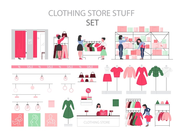 Clothing store stuff set. clothes for men and women. mannequins., fitting rooms and shelves. clothing store staff and people buying new clothes.   illustration Premium Vector