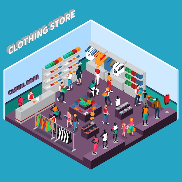 Clothing store with mannequins isometric composition Free Vector