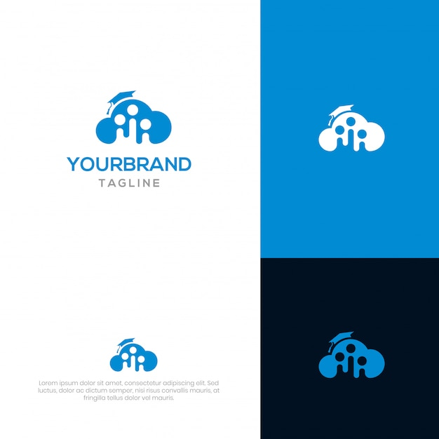 Cloud academy logo template Premium Vector
