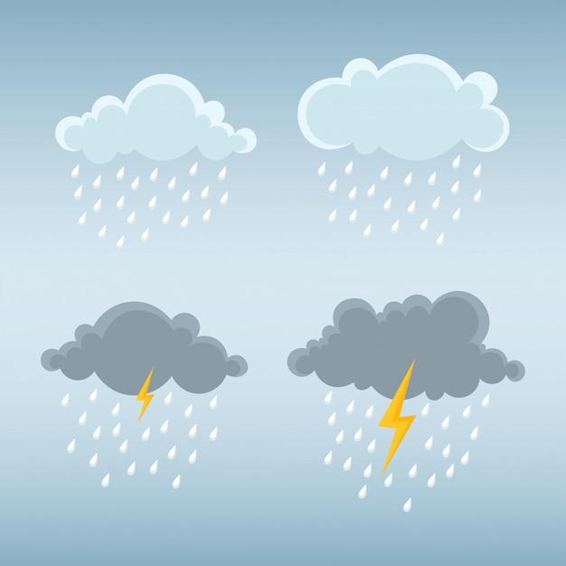 雲と雨、雷雲と嵐の雲。 Premiumベクター