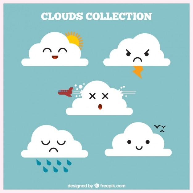 Cloud collection with weather elements Free Vector