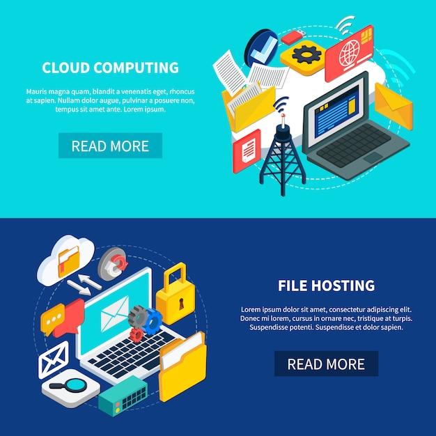 クラウドコンピューティングとファイルホスティングバナー 無料ベクター