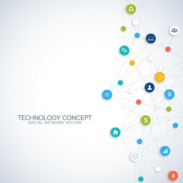 클라우드 컴퓨팅 및 글로벌 네트워크 연결 컨셉 디자인 일러스트레이션 프리미엄 벡터