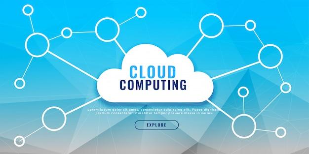 Cloud computing banner design concept Free Vector