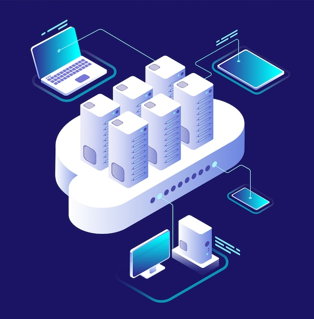 Cloud computing concept. computing network, cloud smartphone app. data storage technology 3d isometric vector infographic Premium Vector