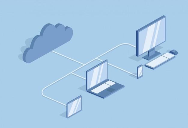 クラウドコンピューティングのコンセプトです。情報技術。クラウドで同期されたデスクトップpc、ラップトップ、モバイルデバイス。青色の背景に、等角投影図。 Premiumベクター