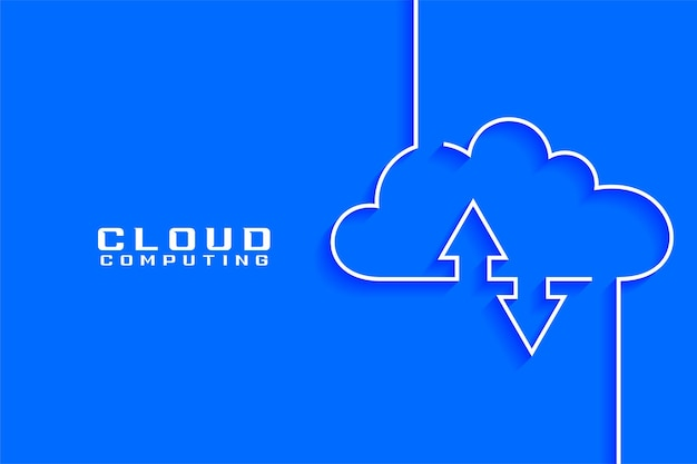 Cloud computing concept visualization in line style Free Vector