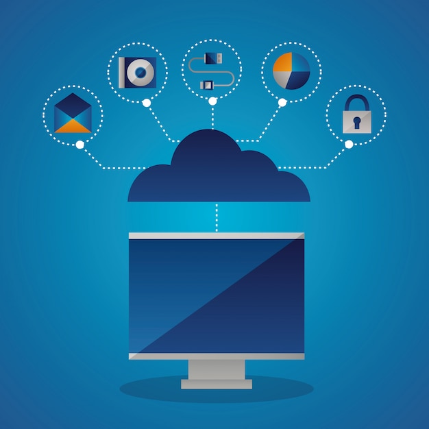 Cloud computing concept Free Vector