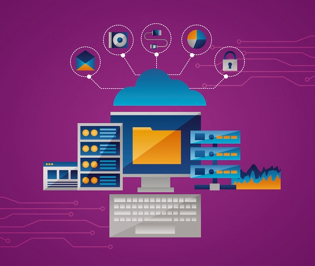 Cloud computing concept Free Vector