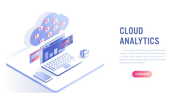 Cloud computing and data analytics concept. call to action or web banner template Premium Vector