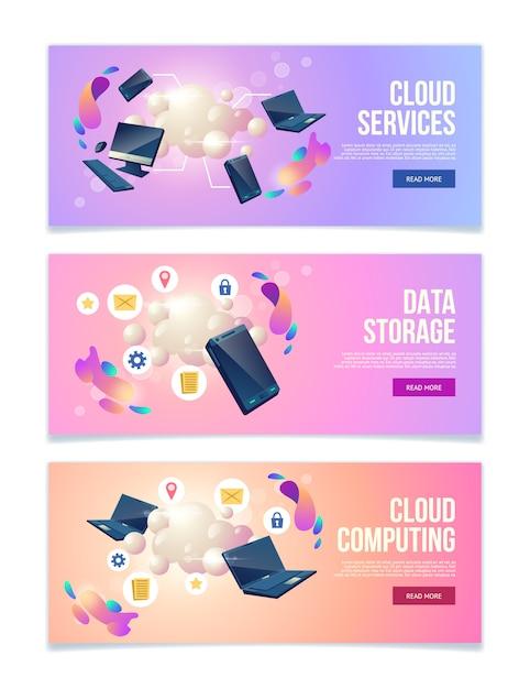 Servizi online di cloud computing e archiviazione dati, hosting di banner web aziendali, set di pagine di destinazione Vettore gratuito