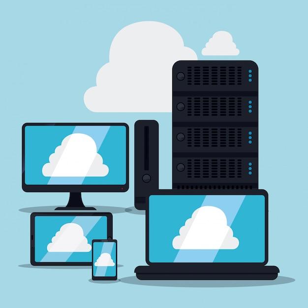Cloud computing design, vector illustration. Premium Vector