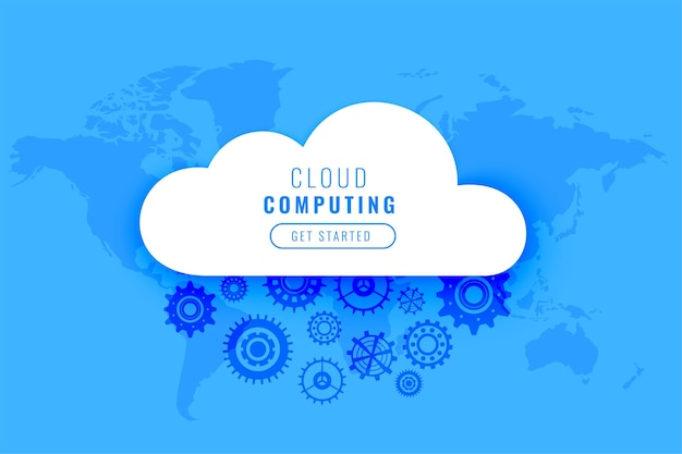 Cloud computing digital technology with gears Free Vector