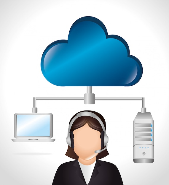 Cloud computing and hosting Free Vector