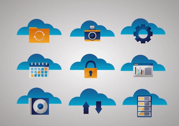 Cloud computing icon set Free Vector