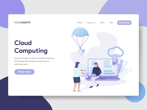 Cloud computing illustration for web pages Premium Vector