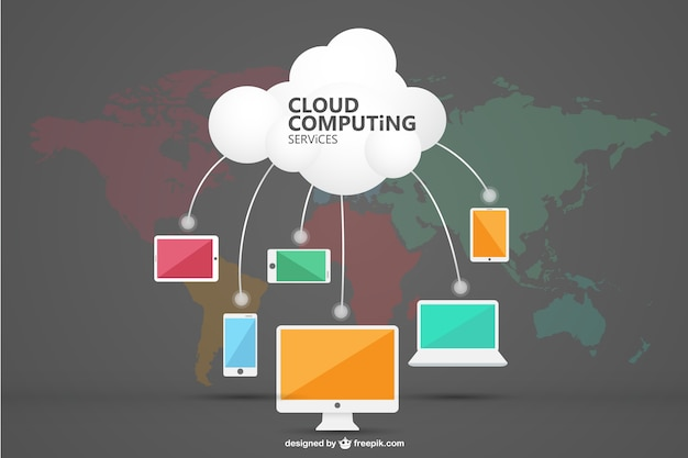 Cloud computing infographic Free Vector