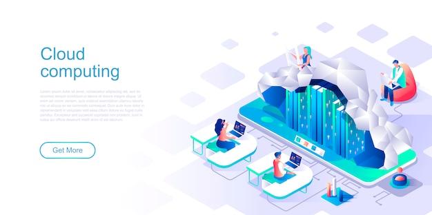 Cloud computing isometric landing page vector template. Premium Vector