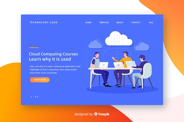 Cloud computing landing page Free Vector