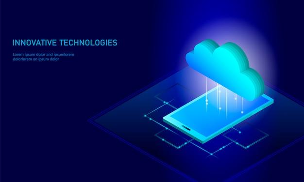 Cloud computing online storage isometric smartphone, big data information  background Premium Vector
