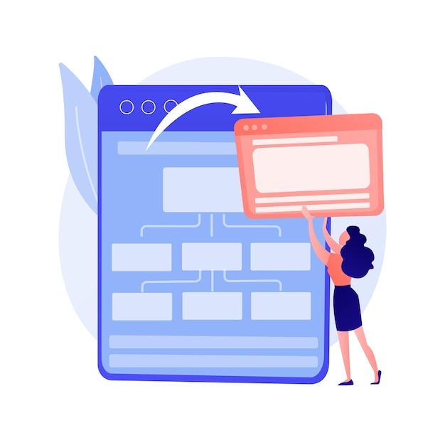クラウドコンピューティングサービス、ウェブホスティング。同期された情報、オンラインストレージ、バックアップテクノロジー。インターネットサーバー。クラウドデータセンターの設計要素の概念図 無料ベクター