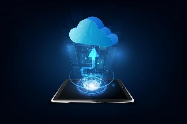 Cloud computing technology internet storage network Premium Vector