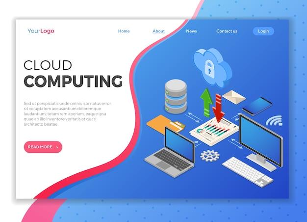 コンピューター、ラップトップ、スマートフォン、データベース、矢印アイコンのクラウドコンピューティング技術等尺性概念。セキュリティクラウドストレージサーバー。ランディングページテンプレート。孤立した Premiumベクター