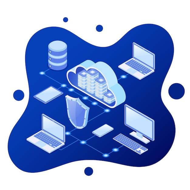 Cloud computing technology isometric concept Premium Vector