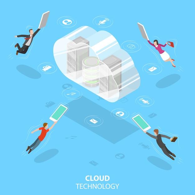 Cloud computing technology isometric flat vector concept. Premium Vector