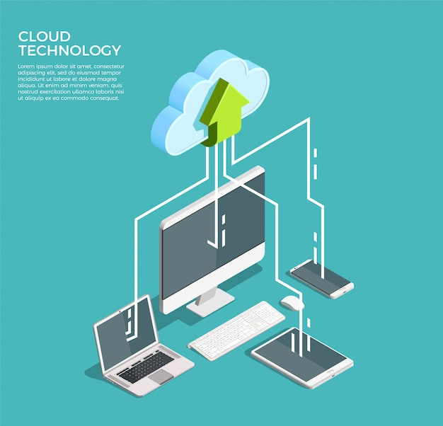Cloud computing technology isometric Free Vector