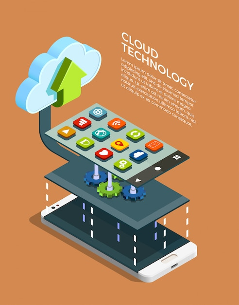 Cloud computing technology isometric Free Vector