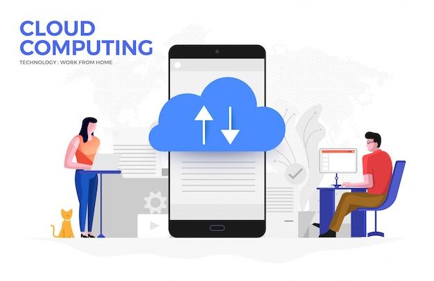 Cloud computiong для работы из дома 05 Premium векторы