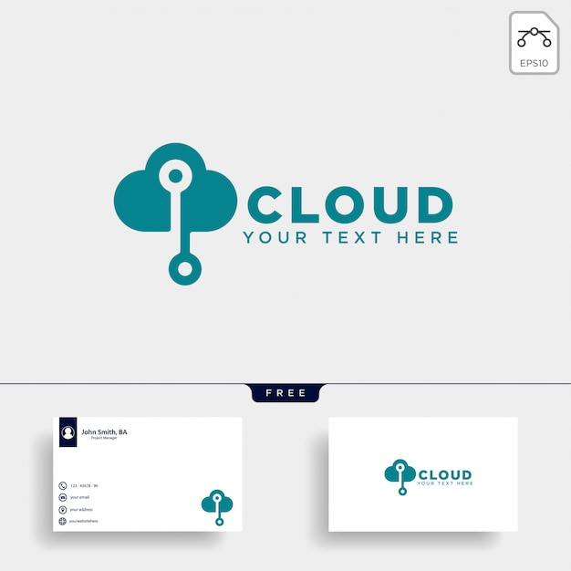 Cloud connection logo template vector illustration Premium Vector