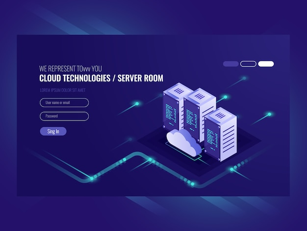 Cloud data center, server room icon,\ information request processing
