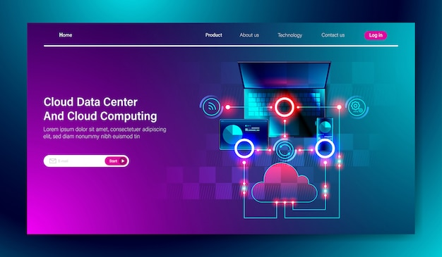Cloud data center service and cloud computing Premium Vector