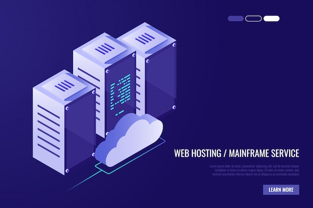 Cloud data center with hosting servers.\ Computer technology, network and database