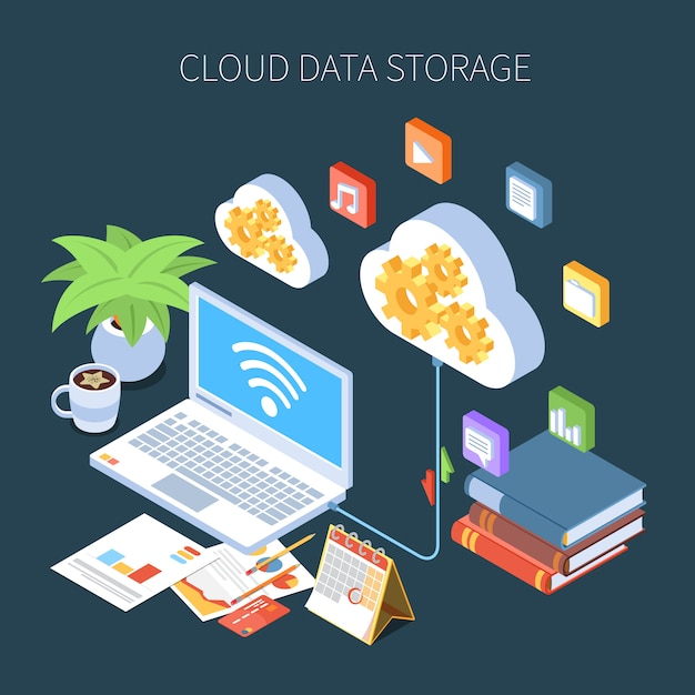 Cloud data storage isometric composition with personal information and media files on dark Free Vector