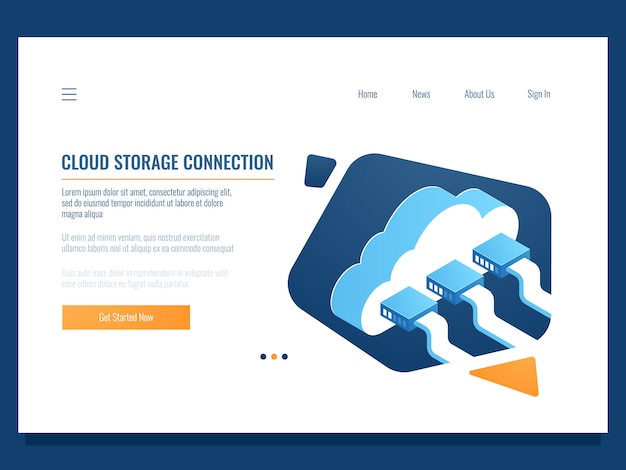 Cloud data storage, remote technology, networking connection, file share access for team Free Vector