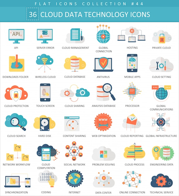 Cloud data technology flat icons set Premium Vector