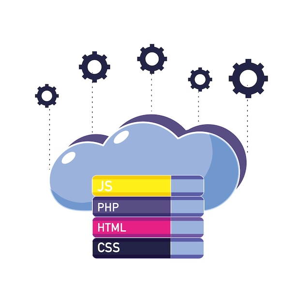 Cloud data with gears and programming code Premium Vector