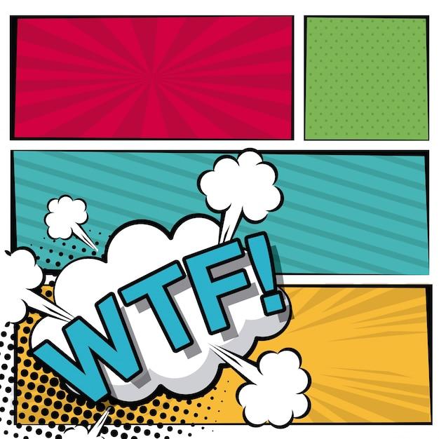 Cloud dialog callout wtf text Premium Vector