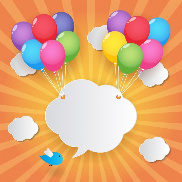 Cloud held by balloons Free Vector