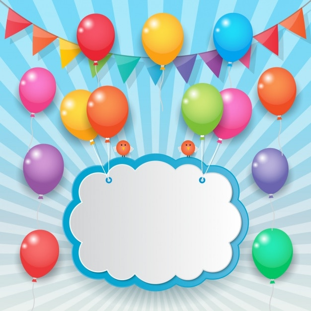 Cloud held with colorful balloons Free Vector