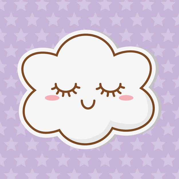Cloud icon cartoon Premium Vector