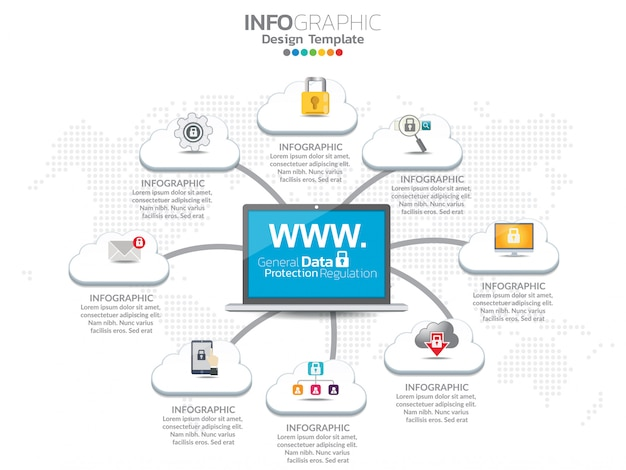 Cloud infographics set with data processing networking elements. Premium Vector